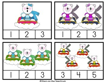 Winter Math Activities Counting Clip Cards Polar Bears
