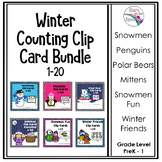 Winter Math Counting Clip Card Bundle