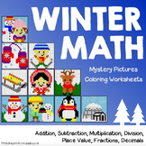 December Coloring Pages, Winter Math Sheets Mystery Picture Activity