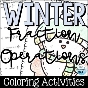 Winter Math: Fraction Operations Color by Number by Live Laugh Math