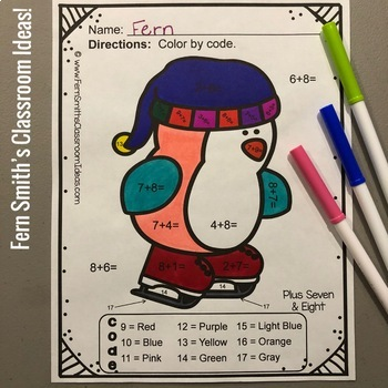 Color By Numbers Winter Funky Penguins Addition Facts