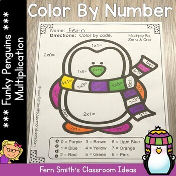 Color By Numbers Winter Funky Penguins Multiplication Facts