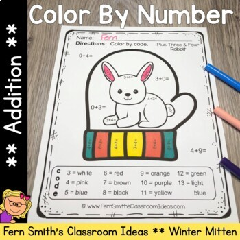 Color By Numbers Winter Math Addition for The Mitten