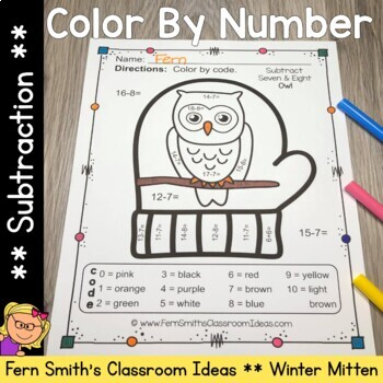 Color By Numbers Winter Math Subtraction for The Mitten