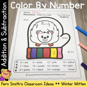 Color By Numbers Winter Math Addition and Subtraction for The Mitten