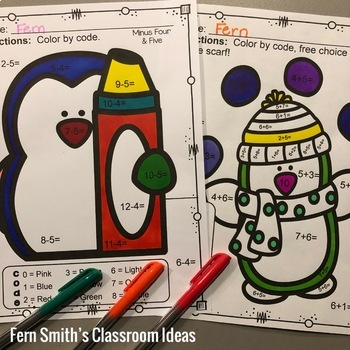 Color By Numbers Winter Math Funky Penguin Addition and Subtraction Bundle