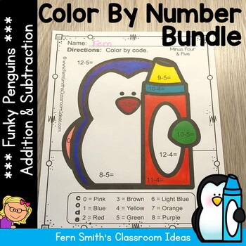 Color By Numbers Winter Math Funky Penguin Addition and Su