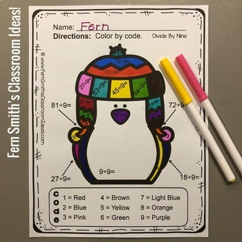 Color By Numbers Winter Math Funky Penguins Division