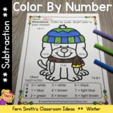 Color By Number Winter Animals for Subtraction