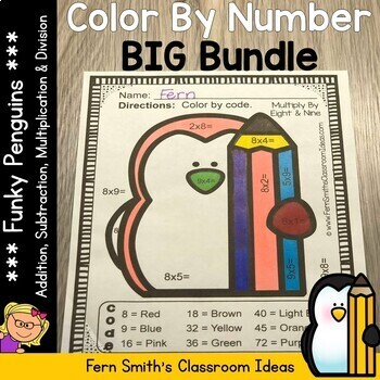 Color By Numbers Funky Penguins Addition Subtraction Multiplication Division