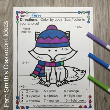 Color By Number Winter Animals for Addition and Subtraction Bundle
