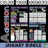 Color By Number Winter Addition Color By Code Bundle For January