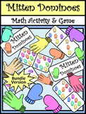 Winter Math Activities: Mitten Dominoes Math Game Activity Bundle - Color&BW