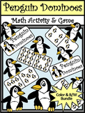 Winter Math Activities: Penguin Dominoes Math Game Activity Bundle - Color&BW