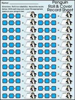 Winter Math Activities: Penguin Roll & Cover Math Activity Packet