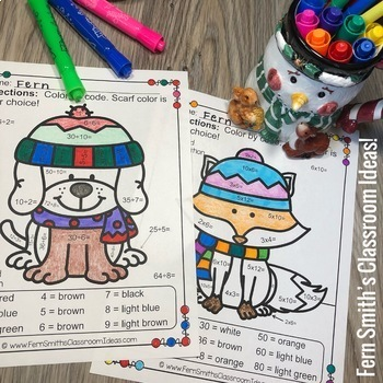 Color By Number Winter Animals Mixed Multiplication and Division Bundle