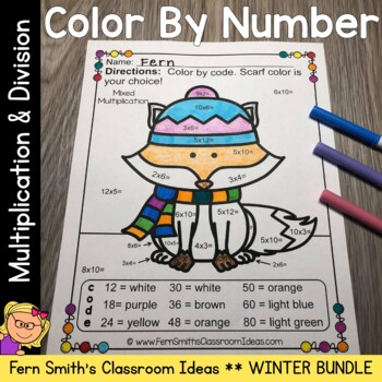 Color By Number Winter Animals Mixed Multiplication and Di