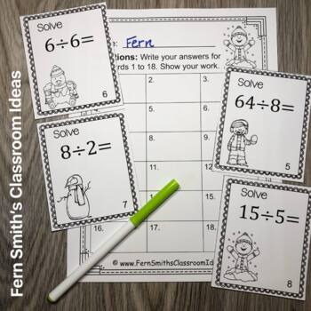 Winter Math Division Task Cards