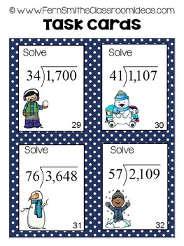 Winter Double Digit Divisors with Double Digit Quotients Division Task Cards