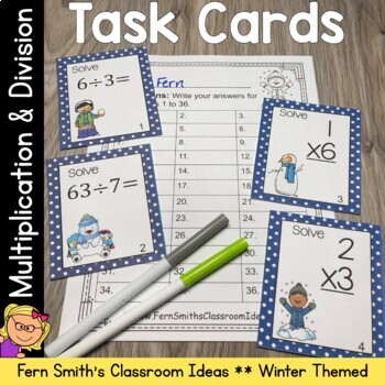 Winter Math Multiplication and Division Task Card Bundle