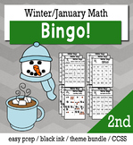 Winter Math 2nd Grade BINGO Game Bundle