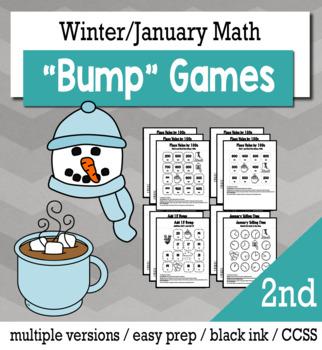 Winter Math 2nd Grade+ Bump Games Bundle