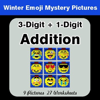 Winter Math: 3-Digit + 1-Digit Addition - Color-By-Number Mystery Pictures