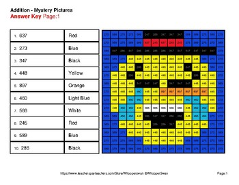 3-Digit + 1-Digit Addition - Color-By-Number Winter Math Mystery Pictures