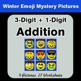 Winter Math: 3-Digit + 1-Digit Addition - Color-By-Number