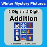 Winter: 3-Digit + 2-Digit Addition - Color-By-Number Math Mystery Pictures