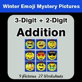 Winter Math: 3-Digit + 2-Digit Addition - Color-By-Number