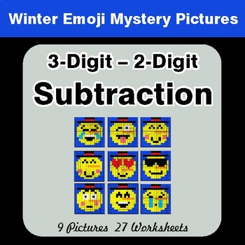 Winter Math: 3-Digit - 2-Digit Subtraction - Color-By-Number Mystery Pictures
