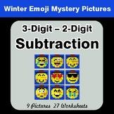 Winter Math: 3-Digit - 2-Digit Subtraction - Color-By-Numb