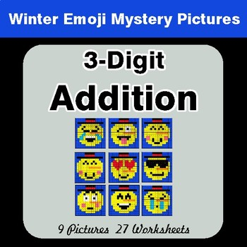 Winter Math: 3-Digit Addition - Color-By-Number Mystery Pictures