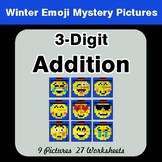 Winter Math: 3-Digit Addition - Color-By-Number Winter Math Mystery Pictures
