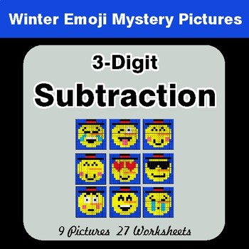 Winter Math: 3-Digit Subtraction - Color-By-Number Math Mystery Pictures