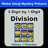 3-Digit by 1-Digit Division - Color-By-Number Winter Math Mystery Pictures