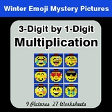 Winter Math: 3-Digit by 1-Digit Multiplication Color-By-Number Mystery Pictures