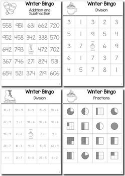 Winter Math 3rd Grade BINGO Game Bundle