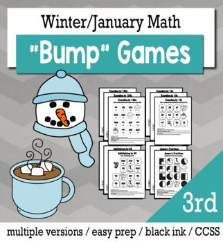 Winter Math 3rd Grade+ Bump Games Bundle