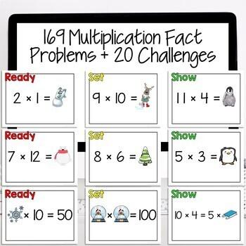 Winter Math 3rd Grade Multiplication Facts | Paperless Math Fact Review Game