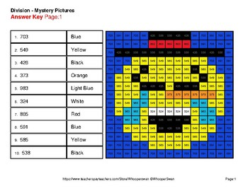 4-Digit by 1-Digit Division - Color-By-Number Winter Math Mystery Pictures