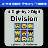 4-Digit by 2-Digit Division - Color-By-Number Winter Math Mystery Pictures