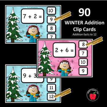 Winter Math Activities Addition to 10: Clip Cards Winter Math Center 1st Grade