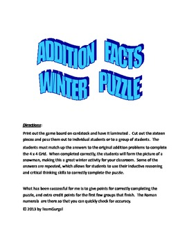 Winter Math Activity - Addition Facts Puzzle