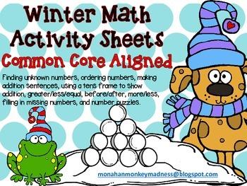 Winter Math Activity Sheets
