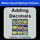 Winter Math: Adding Decimals - Color-By-Number Mystery Pictures