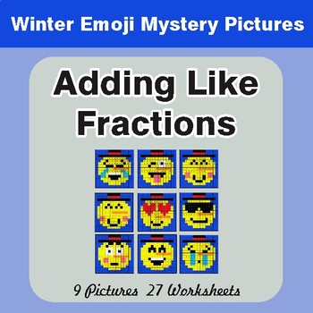 Winter Math: Adding Like Fractions - Color-By-Number Mystery Pictures