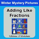 Winter Math: Adding Like Fractions - Color-By-Number Myste
