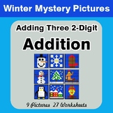 Winter: Adding Three 2-Digit Addition - Color-By-Number Math Mystery Pictures